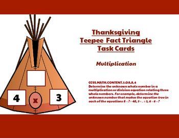 Thanksgiving Teepee Multiplication Task Cards