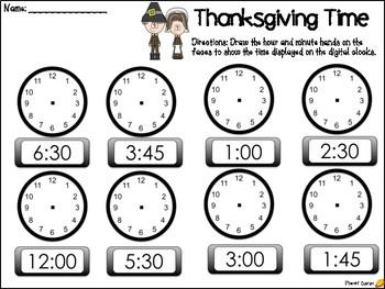 Thanksgiving Telling Time Freebie