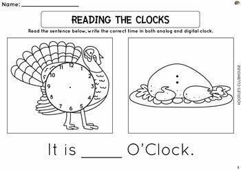 Thanksgiving Telling Time Worksheets