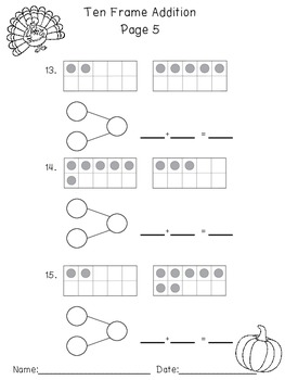 Thanksgiving Ten Frame Addition Practice Sheets