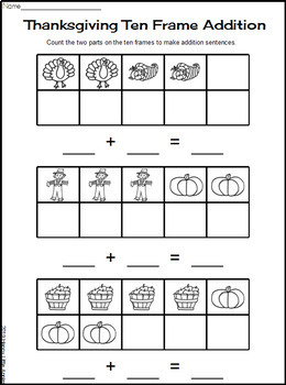 Thanksgiving Ten Frames - Colored Ten Frame Addition Mats & Worksheets
