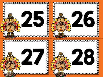 Thanksgiving Ten Frame Flashcards 1-30