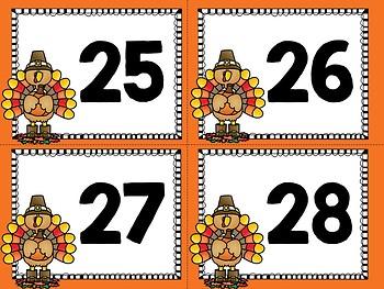 Thanksgiving Ten Frame Flashcards 1-30