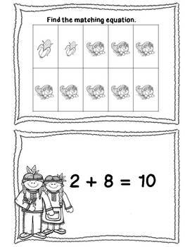 FREE Thanksgiving Ten Frame Matching Cards