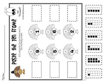Thanksgiving Math ● Ten Frames ● No Prep ● Cut and Paste ● Ten Frame Games