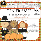 Thanksgiving Math ● Ten Frames ● No Prep ● Cut and Paste ●