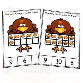 Thanksgiving Ten Frame Task Cards