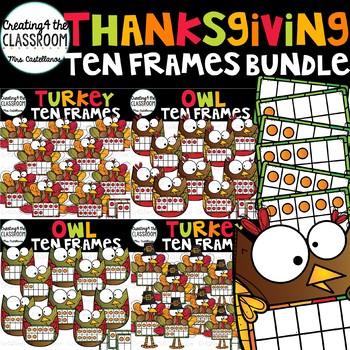 Thanksgiving Ten Frames Clip Art Bundle {Thanksgiving Clip Art}