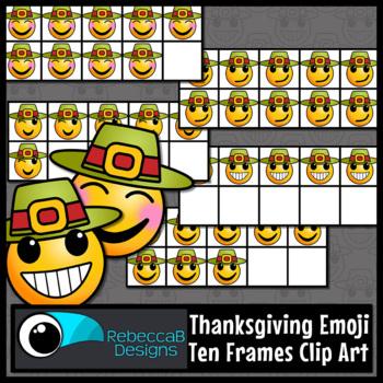 Thanksgiving Ten Frames Emoji Clip Art