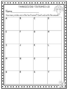 Thanksgiving Ten Frames Write The Room