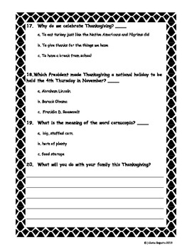 Thanksgiving Test FREE!  (6 PAGES)