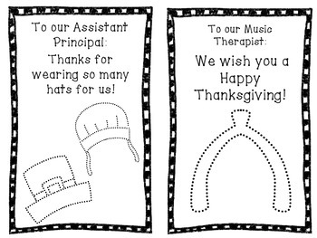 Thanksgiving Thank You Cards for School Staff