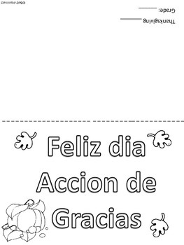 """Thanksgiving """"Thank You"""" Cards in English & Spanish"""