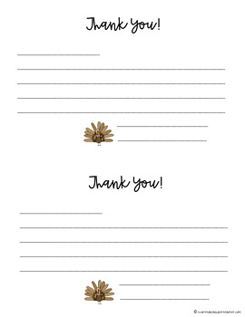 Thanksgiving Writing Activity - FREE Thank You Gram Writing Center, Homework, FF