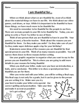 Thanksgiving Writing - Thank You Letter Writing Activity