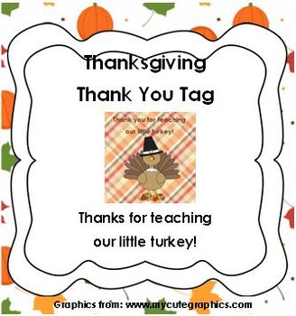 Thanksgiving Thank You tags - Thanks for teaching our turkey