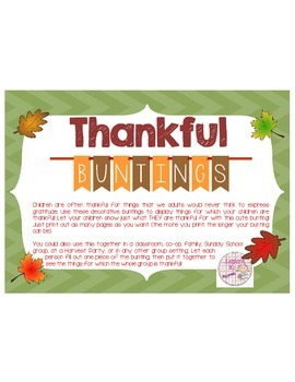 "Thanksgiving ""Thankful For..."" {Bunting Pendant}"