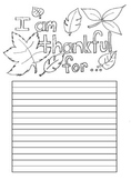 """Thanksgiving """"Thankful For"""" Writing paper with lines"""