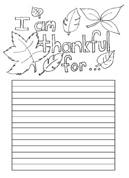 "Thanksgiving ""Thankful For"" Writing paper with lines"