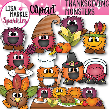 Thanksgiving Thankful Happy Monsters Clipart