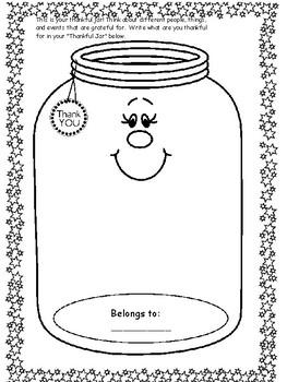 Thanksgiving - Thankful Jar Printable Worksheet Activity