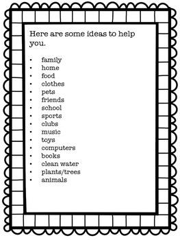 Thanksgiving Thankful List Creative Writing Templates