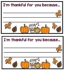 Thanksgiving Thankful Note
