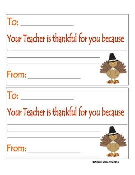 Thanksgiving Thankful Notes to Students