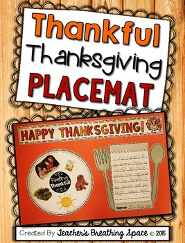 Thankful Thanksgiving Placemat --- A Very Special Thanksgiving Placemat Keepsake