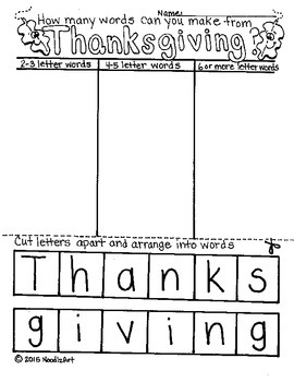 Thanksgiving Thankful Turkey and Word Puzzle Activities