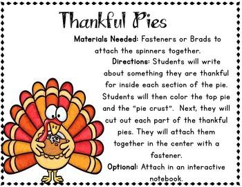 Thanksgiving Writing Craft: Thankful Pie Activity