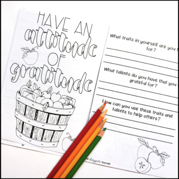 Thanksgiving Thankfulness Reflection and Coloring Journal