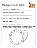 Thanksgiving Thankfulness Worksheet