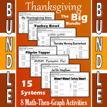 Thanksgiving - The Big Bundle - 8 Math-Then-Graph Activities - 15 Systems