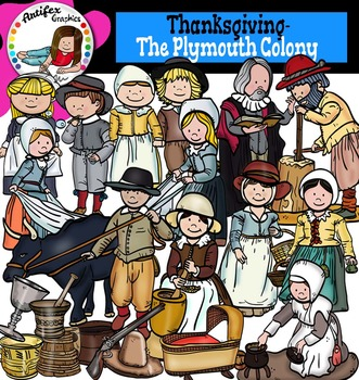 Thanksgiving-The Plymouth Colony,Pilgrims- Color and B&W