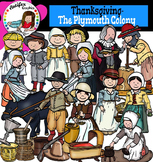 Thanksgiving clipart-The Plymouth Colony,Pilgrims- Color and B&W