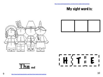 Thanksgiving The Sight Word