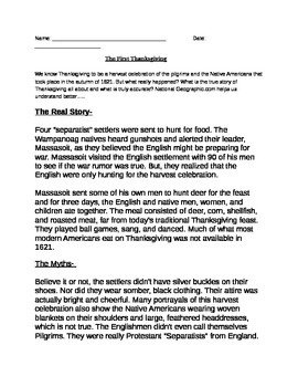 Colonization: Thanksgiving- The real story, the myths docs and q's