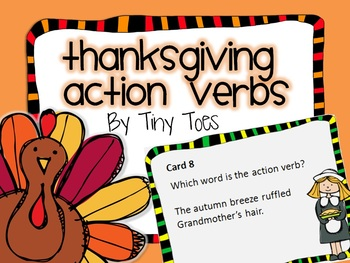 SCOOT Thanksgiving Theme Action Verb Game task cards meets common core
