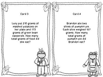 Thanksgiving Math Addition Task Cards