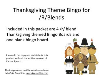 Thanksgiving Theme Bingo for /R/ Blends