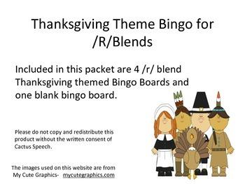 Thanksgiving Theme Bingo for /R/ Blends