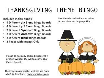 Thanksgiving Theme Bingo for Speech Therapy