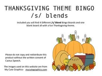 Thanksgiving Theme Bingo for /s/ Blends