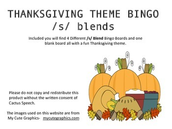 Thanksgiving Theme Bingo for /s/ Blends