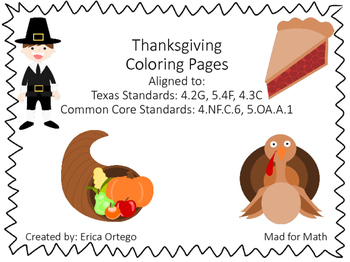 Thanksgiving Theme Color by Number Activity Sheets: Grades 4-5