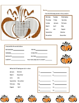 Thanksgiving Theme: Days of the Week/Months of the Year