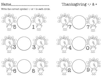 Thanksgiving Theme Greater Than, Less Than, Equal To Center