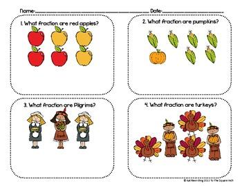 Thanksgiving Theme Identifying Fractions Math Center