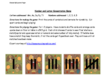Thanksgiving Theme Letter and Number Concentration Game